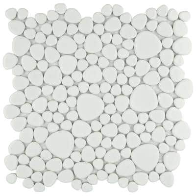 Pebble White 11 in. x 11 in. x 6 mm Porcelain Mosaic Tile (8.6 sq. ft. / case)