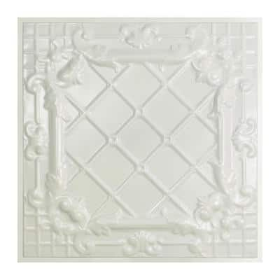 Toledo 2 ft. x 2 ft. Lay-In Tin Ceiling Tile in Gloss White (20 sq. ft./case)