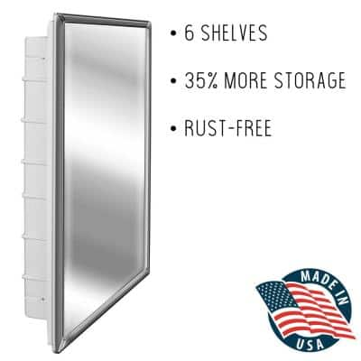 Regulus 16 in. x 26 in. x 3-1/2 in. Framed Recessed 1-Door Bathroom Medicine Cabinet with 6-Shelves and Chrome Frame