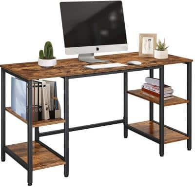 59 in. Rectangular Brown Writing Desk with Shelves