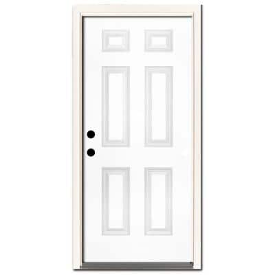 30 in. x 80 in. Premium 6-Panel White Primed Steel Prehung Front Door Right-Hand Inswing and 4 in. Wall