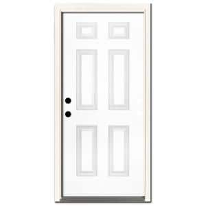 32 in. x 80 in. Premium 6-Panel Primed White Steel Prehung Front Door with 32 in. Right-Hand Inswing and 4 in. Wall