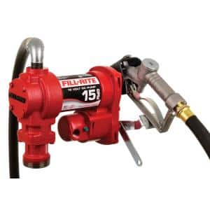 12-Volt 15 GPM 1/4 HP Fuel Transfer Pump (Manual Nozzle Package)