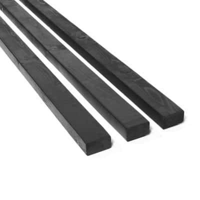 2 in. x 3 in. x 8 ft. Black Stained Pine Fence Panel Backer Rail (3-Pack)