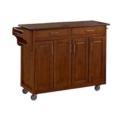 Create-a-Cart Warm Oak Kitchen Cart with Cherry Wood Top