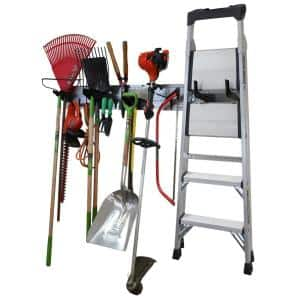 8 in. H x 64 in. W Garage Tool Storage Lawn and Garden Tool Organizer Rack with Galvanized Steel Pegboard and Black Hook