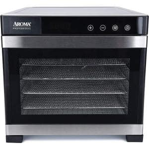 6-Tray Black Electric Food Dehydrator with Glass Door