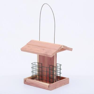 7 in. Red Cedar Wood Double Suet Small Cottage Bird Feeder