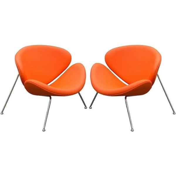 Benjara Modern Orange And Silver, Modern Orange Accent Chair