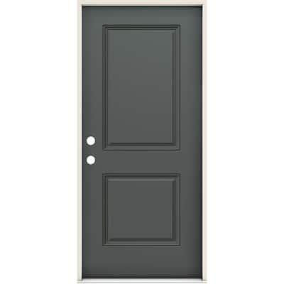 36 in. x 80 in. Right-Handed 2 Panel Square Slate Fiberglass Prehung Front Door