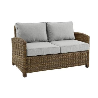 Bradenton Weathered Brown Wicker Outdoor Loveseat with Gray Cushion