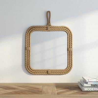 Small Square Brown Novelty Mirror (17 in. H x 23 in. W)