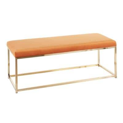 18 x 48 x 18 Zenn Orange Contemporary Bench in Velvet and Gold Metal