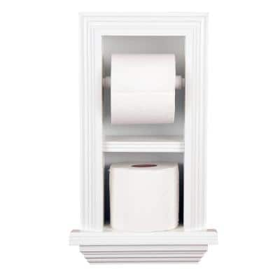 Newton Recessed Toilet Paper Holder 18 Holder in White Newport with Ledge Frame