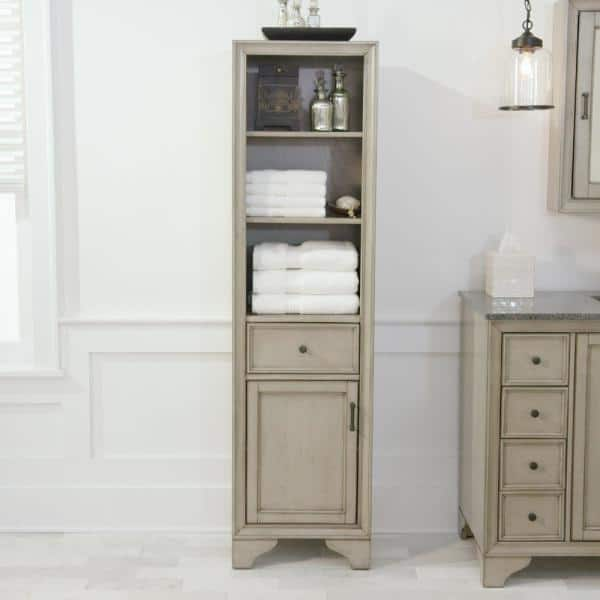 Home Decorators Collection Hazelton 18 In W X 15 In D X 67 1 2 In H Bathroom Linen Cabinet In Antique Grey Hzagl1867 The Home Depot
