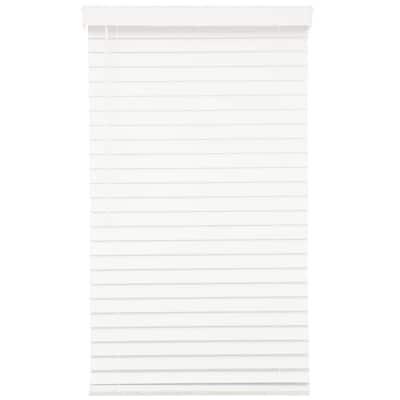 White Cordless Room Darkening 2.5 in. Premium Faux Wood Blind for Window - 34.5 in. W x 64 in. L