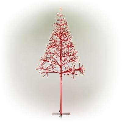 53/61 in. Tall Indoor/Outdoor Artificial Festive Christmas Tree with LED Lights, Red