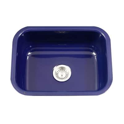 Porcela Series Undermount Porcelain Enamel Steel 23 in. Single Bowl Kitchen Sink in Navy Blue