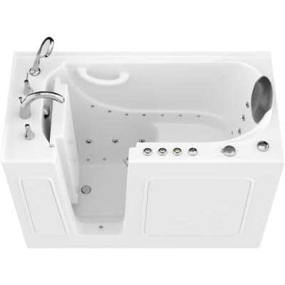 Safe Premier 52.75 in. x 60 in. x 26 in. Left Drain Walk-in Air and Whirlpool Bathtub in White