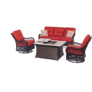 Orleans Brown 4-Piece All-Weather Wicker Fire Pit Patio Seating Set with Autumn Berry Cushions