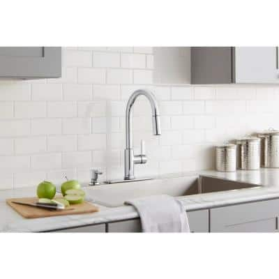Paulina Single-Handle Pull-Down Sprayer Kitchen Faucet with TurboSpray, FastMount and Soap Dispenser in Chrome