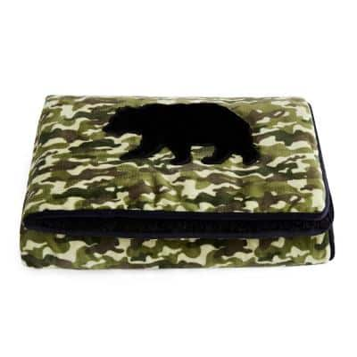 Hunter Green Kids Applique Velvet to Sherpa Reverse 40 in. x 60 in. x 6 lbs. Weighted Throw Blanket