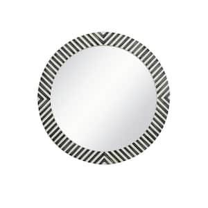 Medium Round Chevron Contemporary Mirror (28 in. H x 28 in. W)