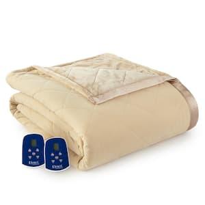 Reverse to Ultra Velvet Full Camel Electric Comforter/Blanket