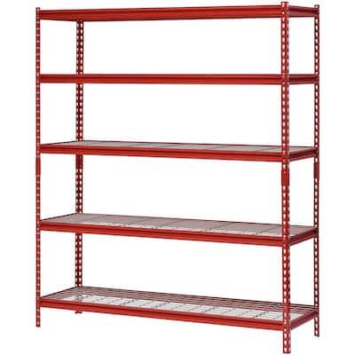 Red 5-Tier Boltless Steel Garage Storage Shelving (60 in. W x 72 in. H x 18 in. D)