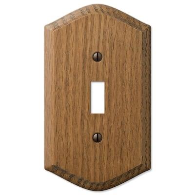 Country 1 Gang Toggle Wood Wall Plate - Medium Oak