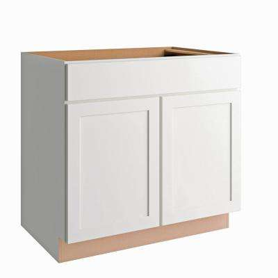 Courtland Shaker Assembled 36 in. x 34.5 in. x 24 in. Stock Sink Base Kitchen Cabinet in Polar White Finish