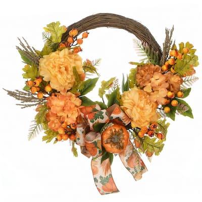 23 in. Harvest Mums and Hydrangeas Wreath