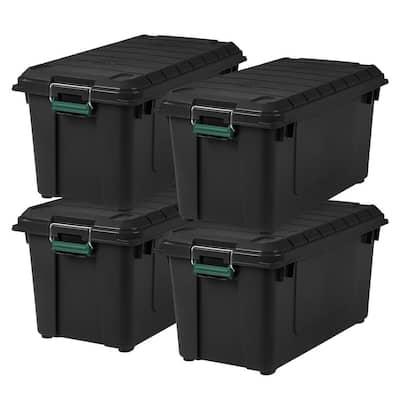 82 Qt. Remington Weathertight Store-It-All Storage Bin in Black (4-Pack)