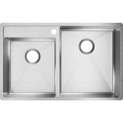 Crosstown Undermount Stainless Steel 33 in. 1-Hole Double Bowl Left Lowered Deck Kitchen Sink