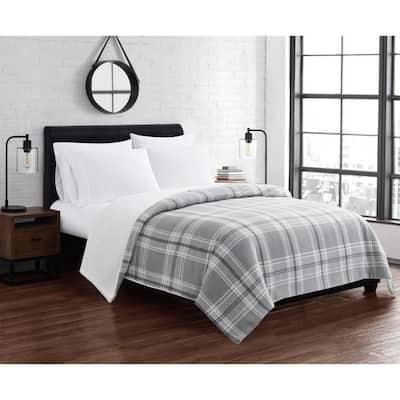 Cozy Teddy Grey Plaid Polyester Full/Queen Blanket