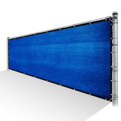 6 ft. x 25 ft. Blue Privacy Fence Screen Mesh Fabric Cover Windscreen with Reinforced Grommets for Garden Fence