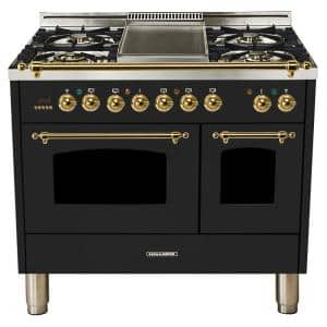 40 in. 4.0 cu. ft. Double Oven Dual Fuel Italian Range True Convection, 5 Burners, Griddle, Brass Trim in Glossy Black
