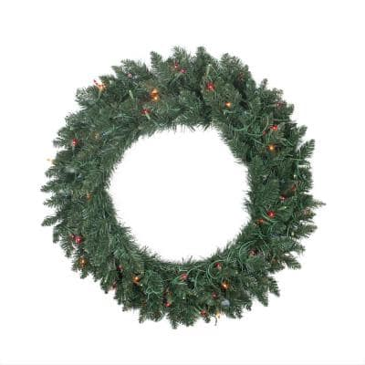30 in. Pre-Lit Traditional Pine Artificial Christmas Wreath with Multi-Lights