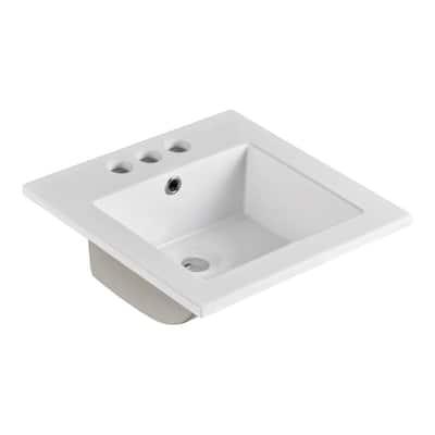 Sardinia 16 in. Drop-In Ceramic Bathroom Sink in White