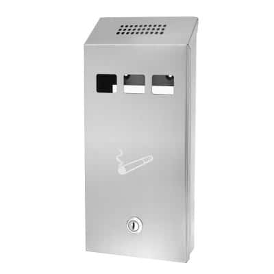 Stainless Steel Wall-Mounted Cigarette Disposal Tower Outdoor Ashtray