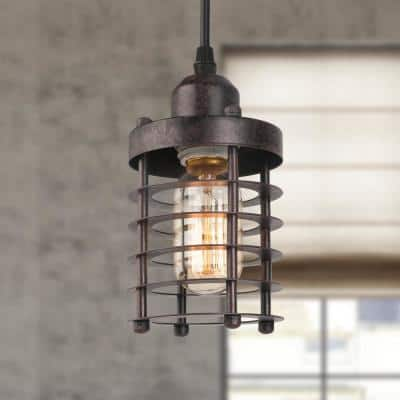Edison Farmhouse 1-Light Bronze Industrial Rustic Island Bar Pendant Light with Dynamic Cage Shade