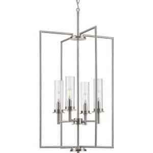 Kellwyn Collection 4-Light Brushed Nickel Clear Glass Transitional Foyer Pendant Light