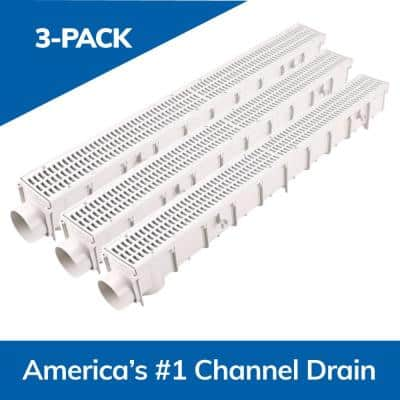 3 in. Pro Series Channel Drain Kit, 4-1/16 in. x 39-3/8 in. Channel, Gray Grate, End Caps/Outlet (3-Pack=9.8 ft.)