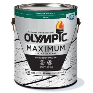 Maximum 1 gal. White/Base 1 Solid Color Exterior Stain and Sealant in One