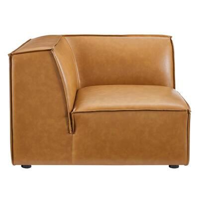Restore Tan Vegan Leather Sectional Sofa Corner Chair