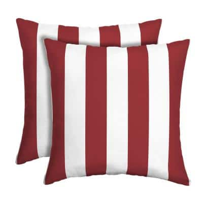 16 in. x 16 in. Ruby Cabana Stripe Outdoor Square Pillow (2-Pack)