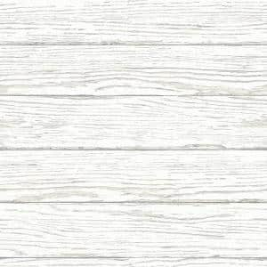 Rehoboth White Distressed Wood White Wallpaper Sample
