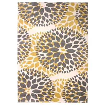 Modern Contemporary Floral Circles Yellow 10 ft. x 14 ft. Indoor Area Rug