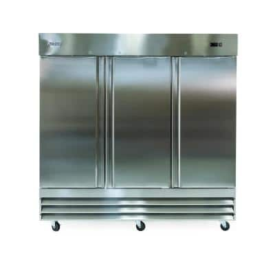81 in. W 72 cu. ft. 3-Door Commercial Refrigerator in Stainless Steel