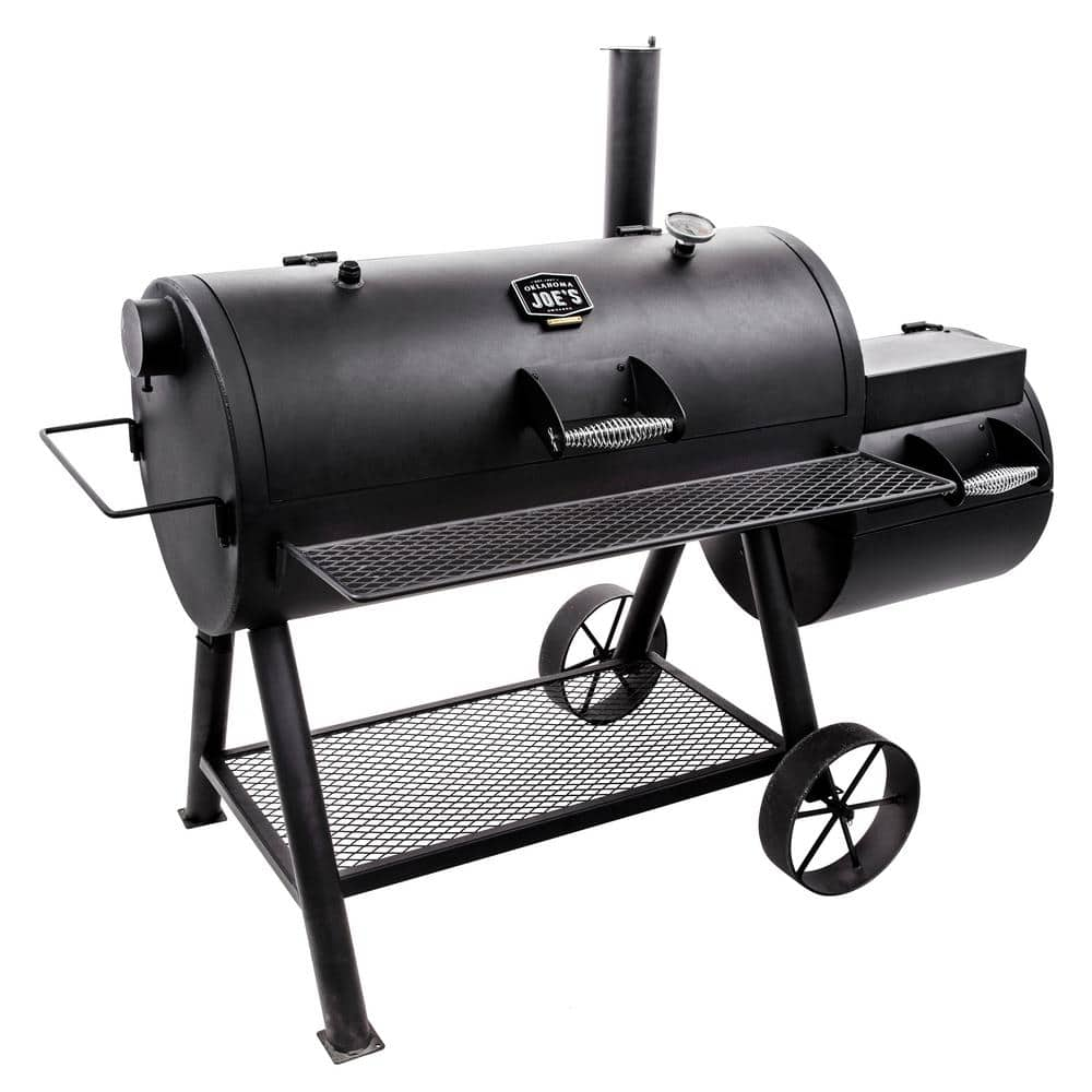 Longhorn Reverse Flow Barrel Charcoal Smoker and Grill in Black